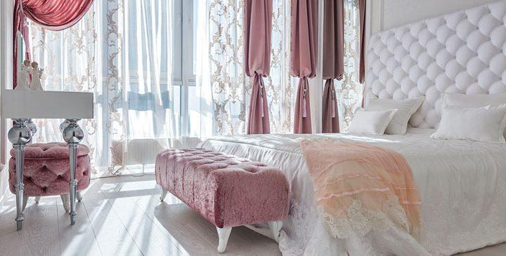 Królewski styl glamour – aranżacja sypialni