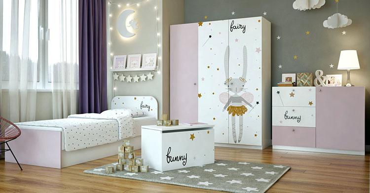zestaw mebli dziecięcych do pokoju dziewczynki