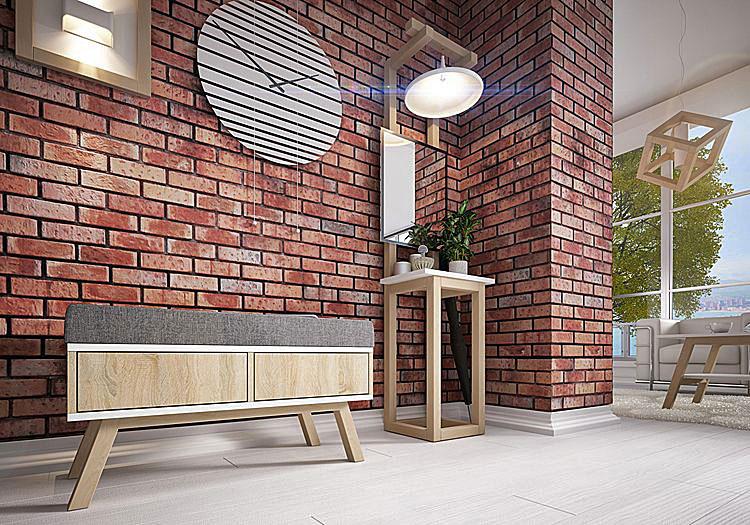 szafka z siedziskiem w przedpokoju w stylu industrialnym ze ścianami z imitacją czerwonej cegły
