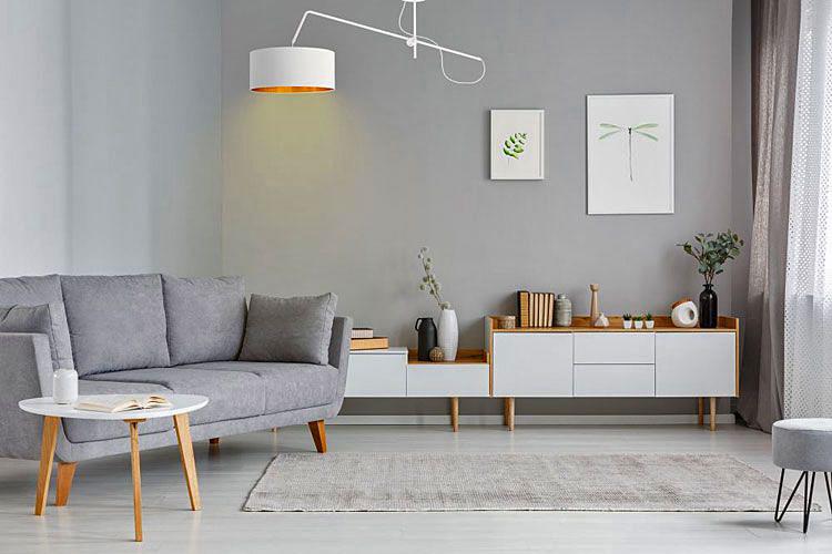 salon urządzony w stylu skandynawskim z obrazami na ścianie