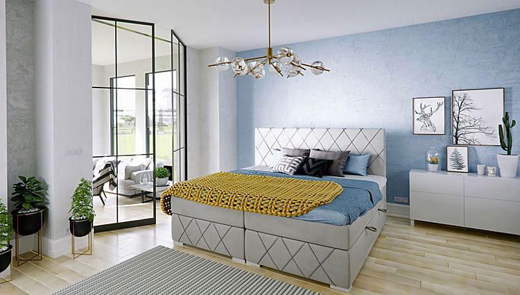 tapicerowane pikowane łóżko kontynentalne w sypialni
