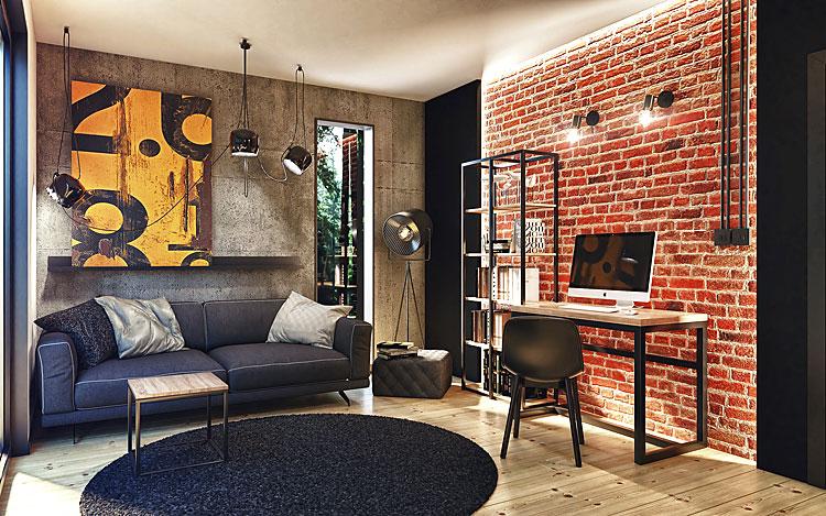 ściany salonu z aranżacją w stylu industrialnym