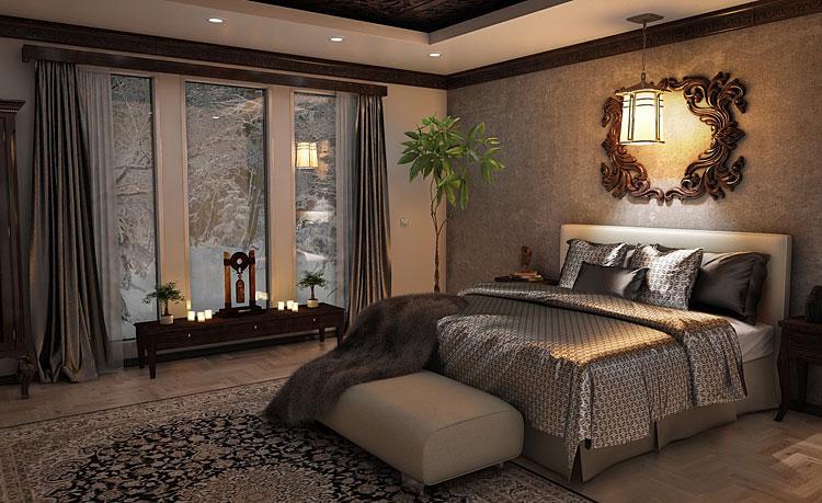 duża sypialnia w stylu glamour z meblami