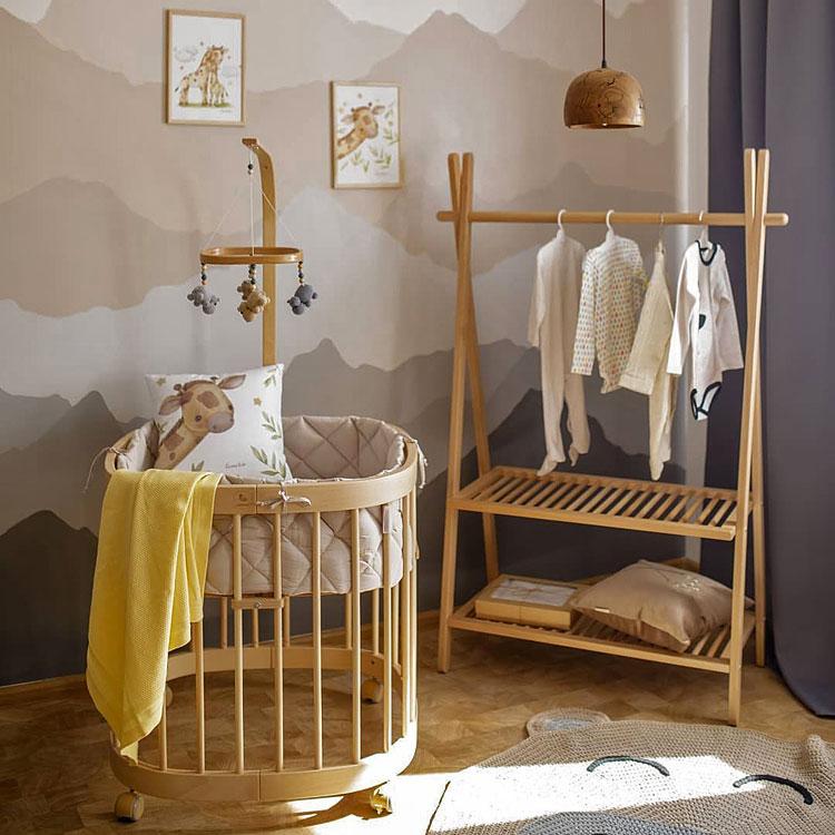 bukowe wielofunkcyjne łóżeczko dziecięce