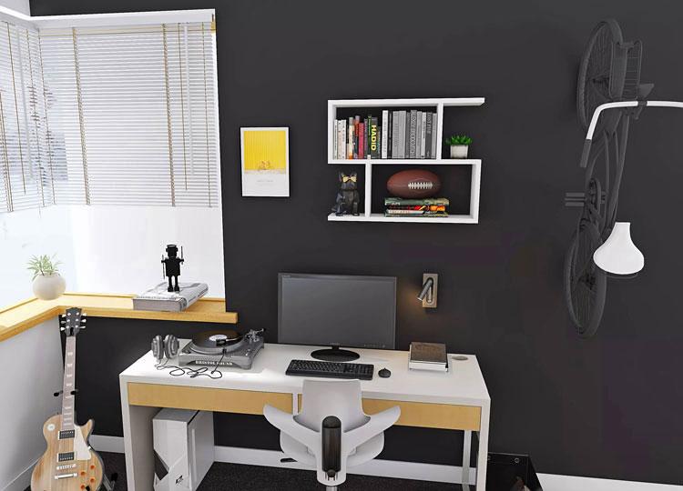 nowoczesna biała półka wisząca nad biurkiem