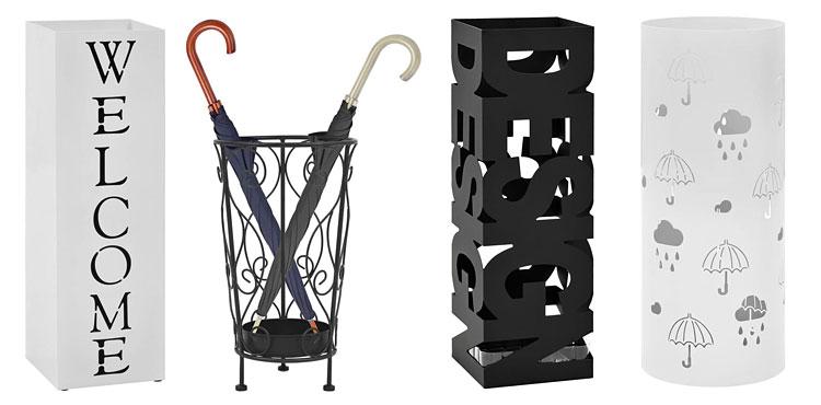 nowoczesne stojaki na parasole od lewej: biały designerski stojak na parasole z napisem - bones 2s , czarny metalowy stojak na parasole w stylu vintage - selvis, czarny designerski stojak na parasole - nauro 4s, biały pionowy ozdobny parasolnik - istro 2s .