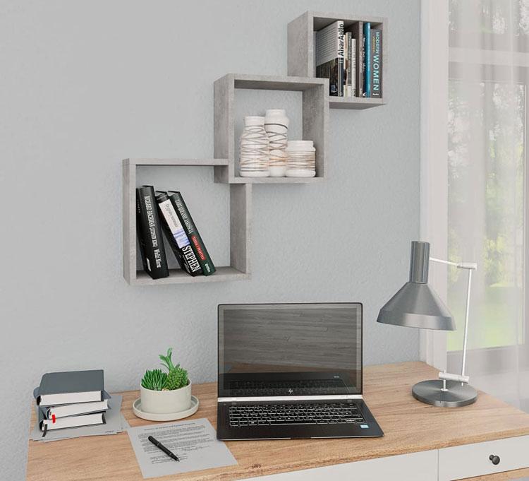 zestaw półek nad biurko w kolorze imitującym beton