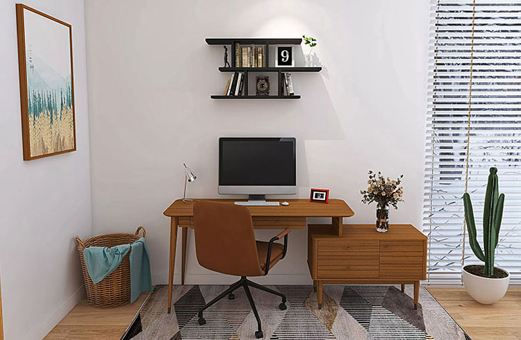 czarna minimalistyczna półka na ścianie nad biurkiem