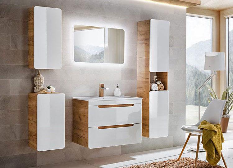 lustro łazienkowe z oświetleniem i zestaw mebli łazienkowych