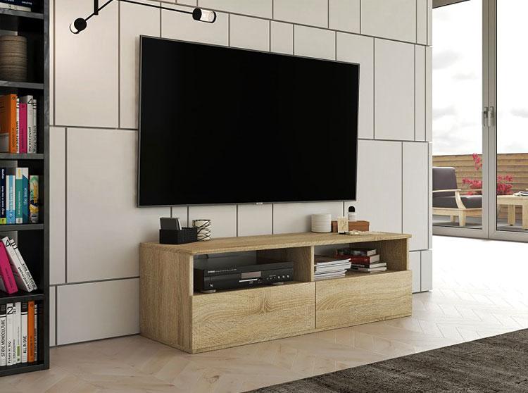 nowoczesna szafka pod telewizor w kolorze dąb sonoma