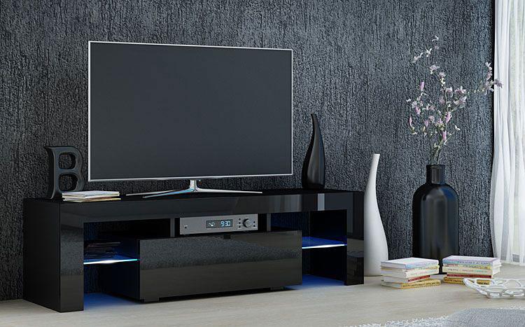 lakierowana czarna szafka pod telewizor na wysoki połysk