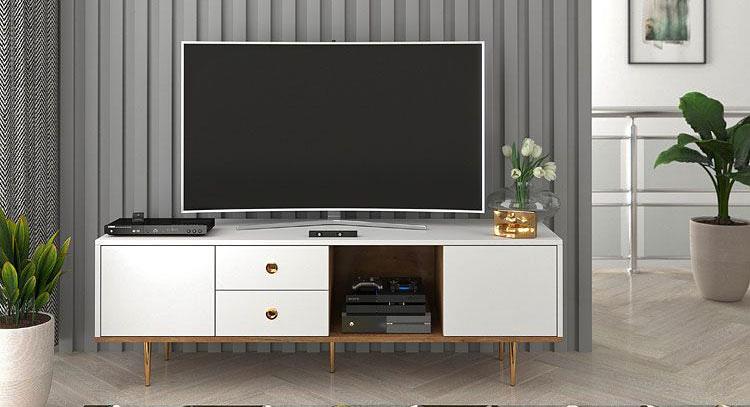 biała szafka rtv pod telewizor z szufladami