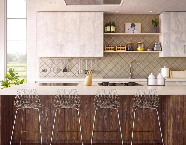 aranżacja ścian kuchni w wykorzystaniem półek i przyborów kuchennych