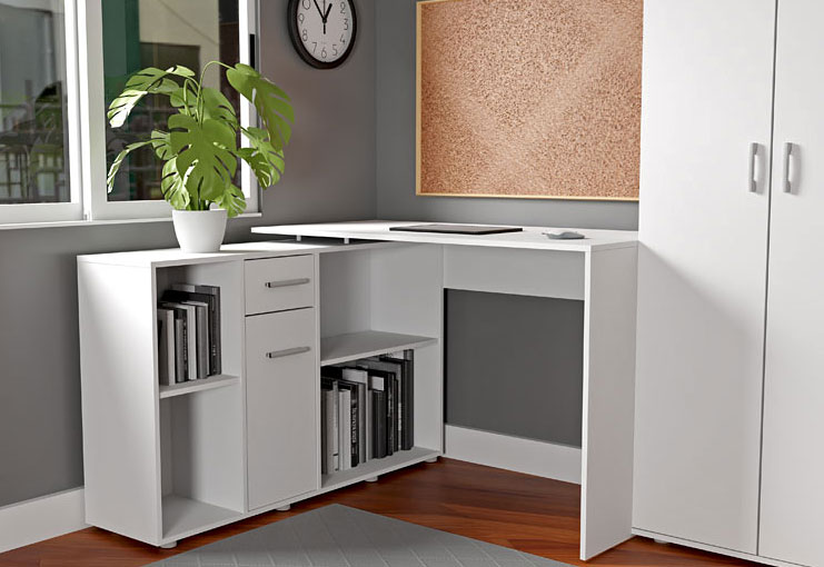 białe modułowe biurko do pracy w domu