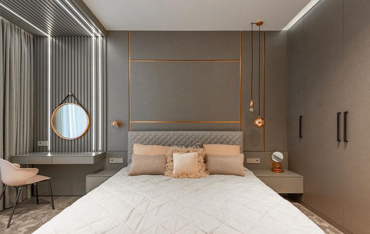 wnętrze sypialni w stylu glamour