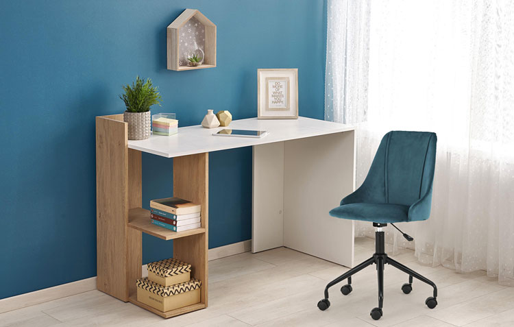 biurko w kolorze białym i dąb sonoma do pracy w domu