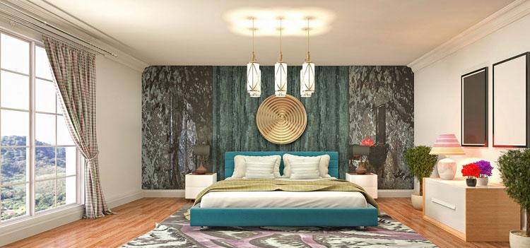 nowoczesna sypialnia z tapetą nad łóżkiem