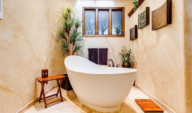 aranżacja nowoczesnej łazienki z użyciem rośliny doniczkowej