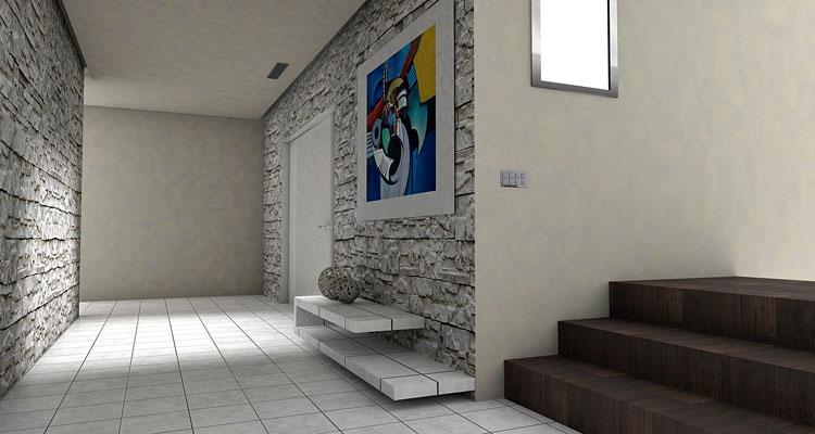 kamień dekoracyjny na ścianach w przedpokoju