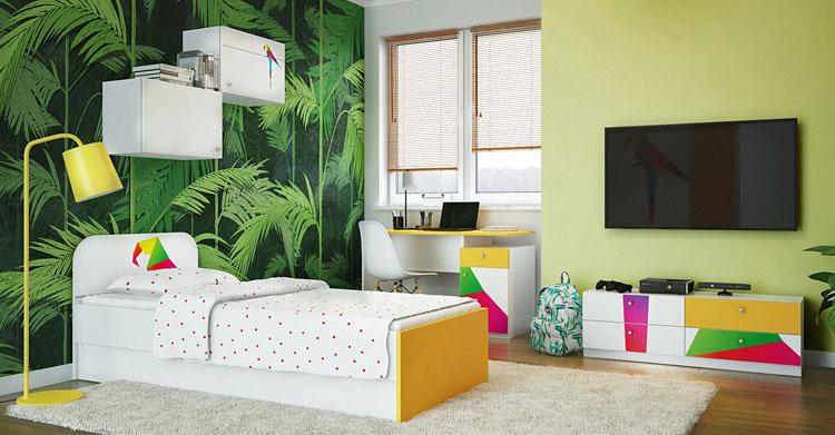 kolorowe ściany oraz nowoczesne meble w pokoju dla dziecka
