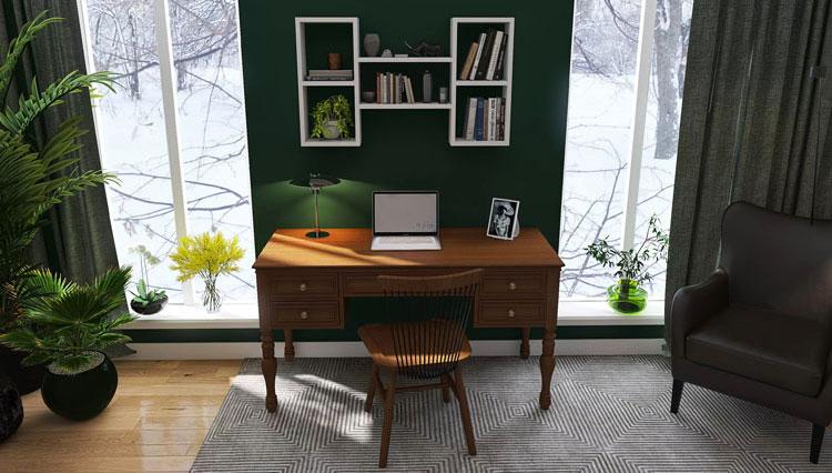 przykładowa aranżacja domowego home office