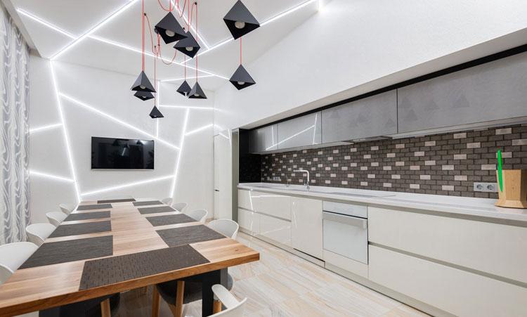 nowoczesne meble kuchenne i szaro-białe płytki