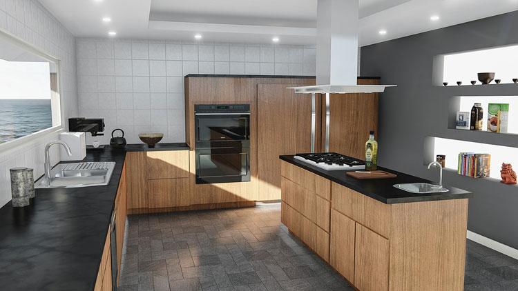 wnętrze kuchni z białymi płytkami i drewnianymi meblami